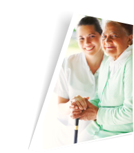 caregiver and patient with cane smiling